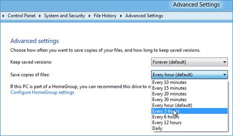 Configure file history