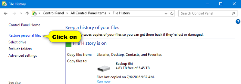 How to restore with file history