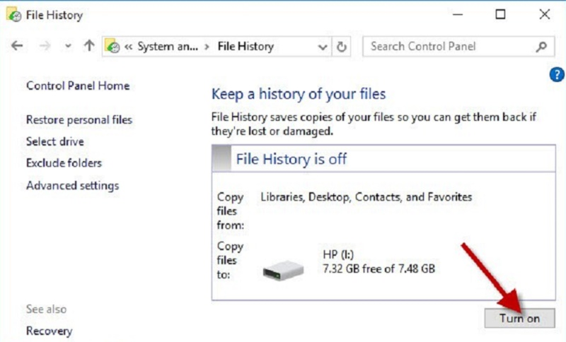 Activate file history Windows 10