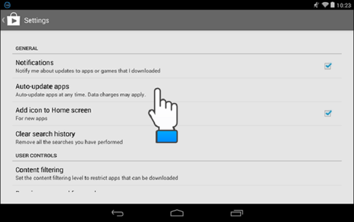 Android update settings